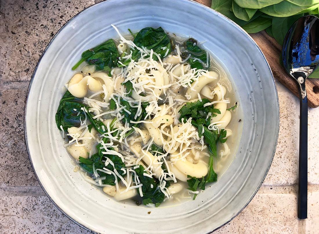 Spinat og bønnesuppe med trottole