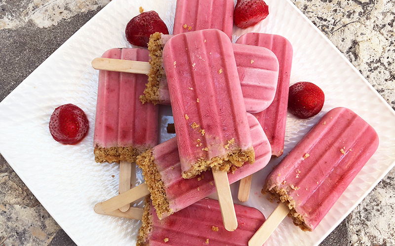Strawberry cheesecake on a stick