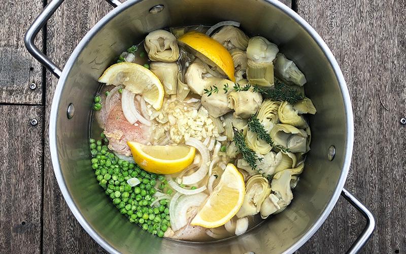 Kyllinggryte med artisjokk og spinat - Slow cook