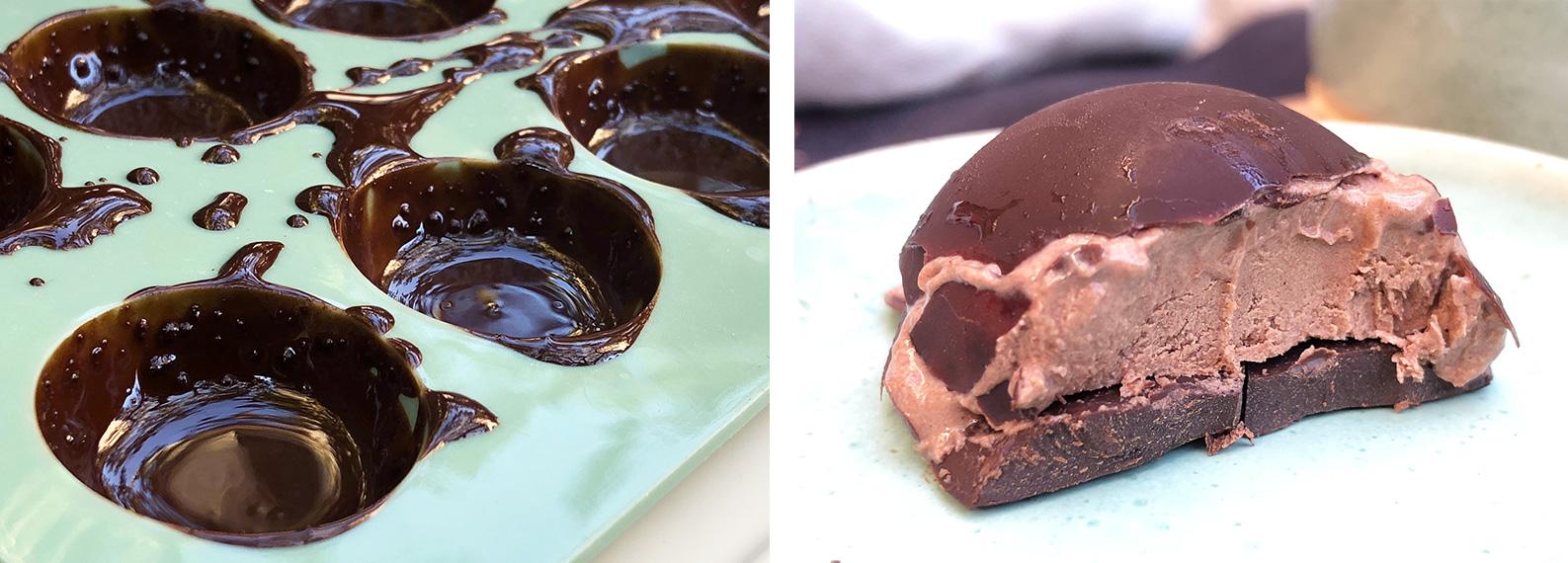Frosne moccakuler med mørk sjokolade