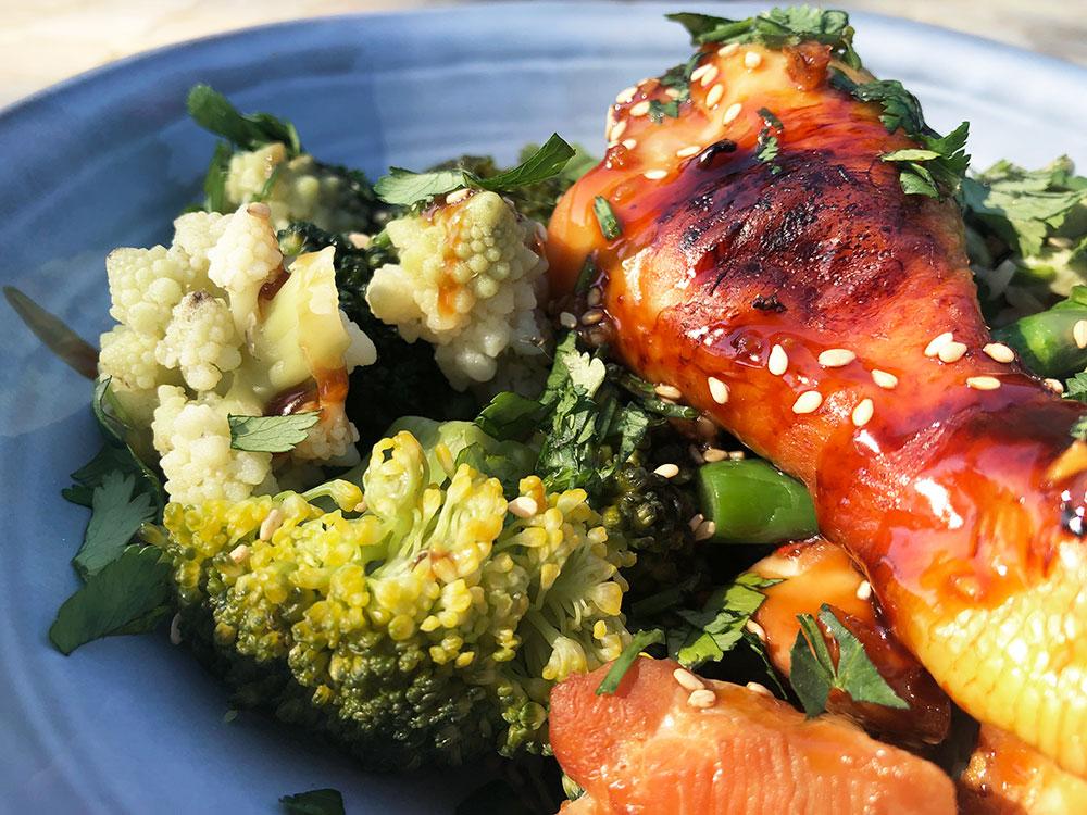 Teriyaki kylling med brokkoli og bondebønner