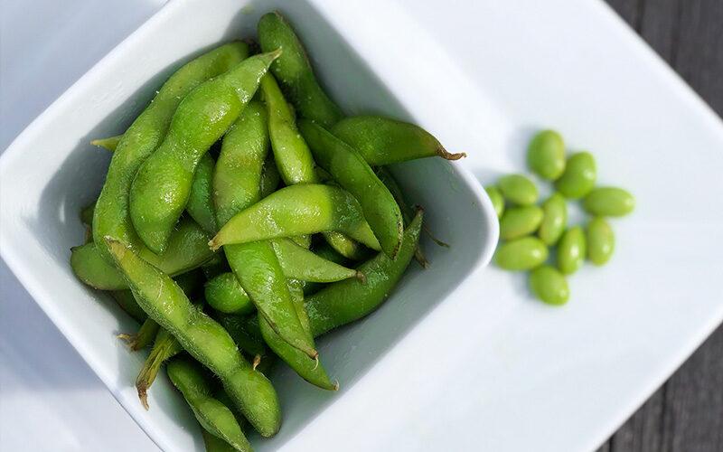 Dampede edamamebønner - sunn snacks