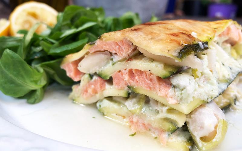 Lasagne med laks og squash