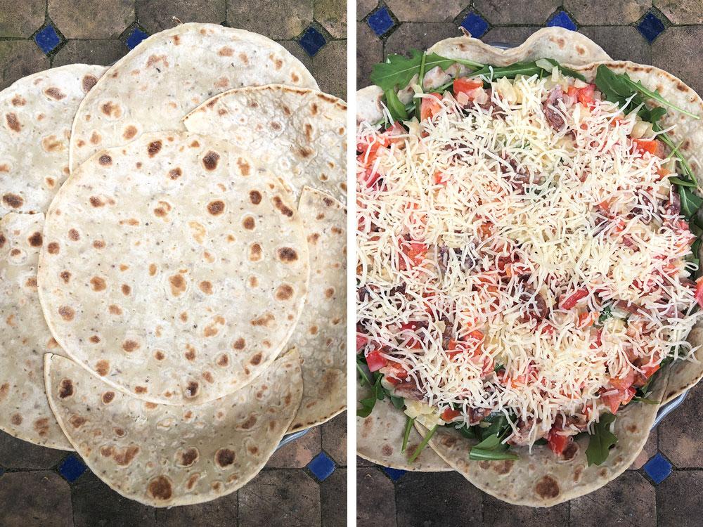 Lett lompepai med chorizo og paprika