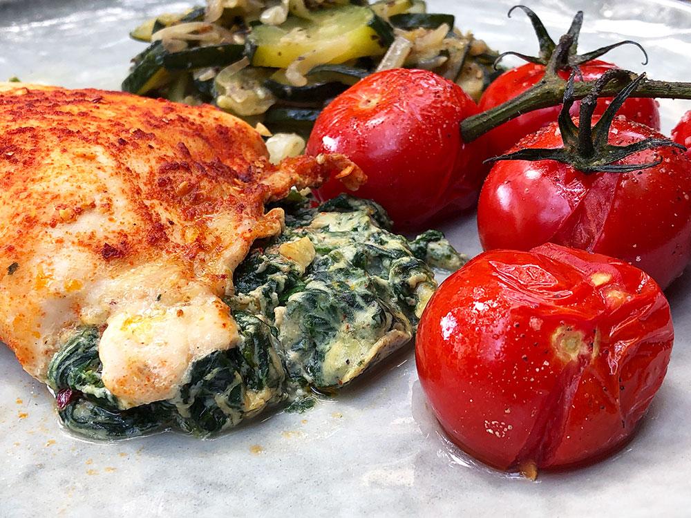 Saftig kyllingbryst fylt med ricotta og spinat