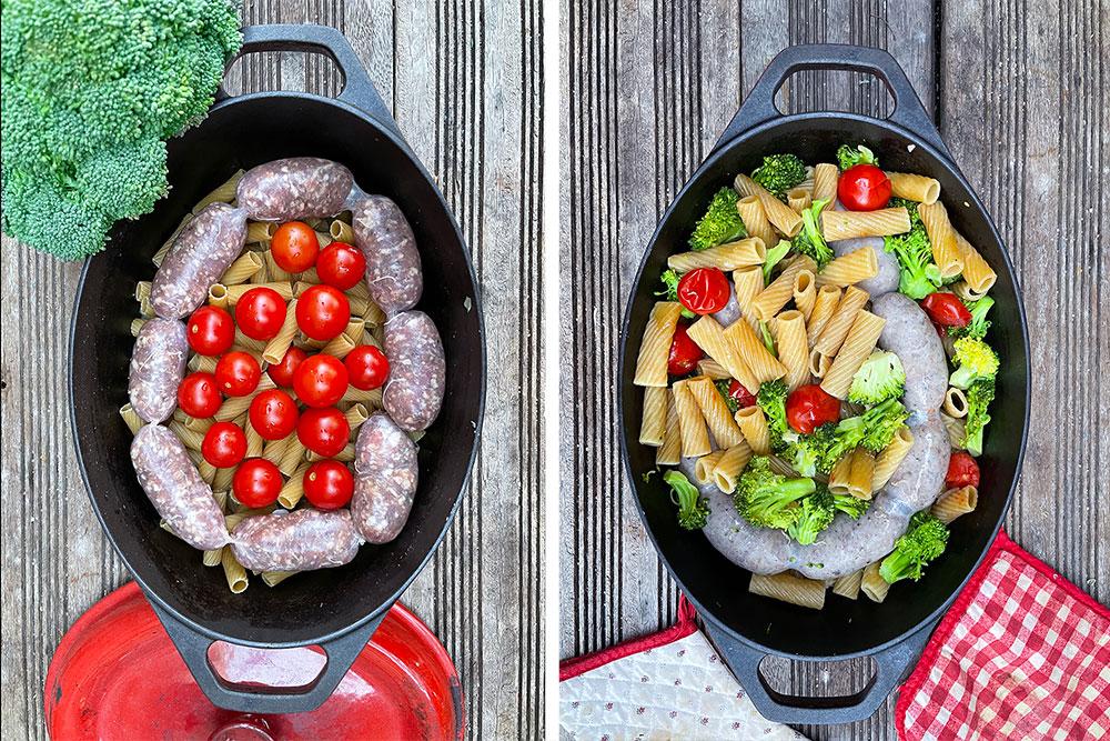 Alt i en pastakjele med salsiccia, brokkoli og cherrytomater